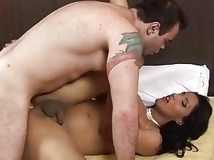 Tgirl gagged screwed & fisted
