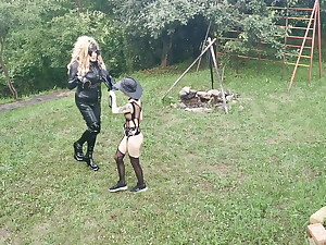 Pony training for blonde TV TS cunt by sexy punk domina pt1