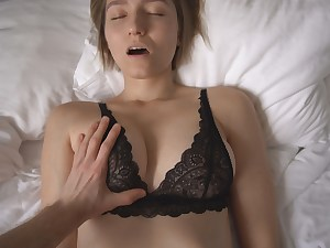 THE SEXIEST PORN WITH TOP MODEL IN BLACK LACE Hooter-sling