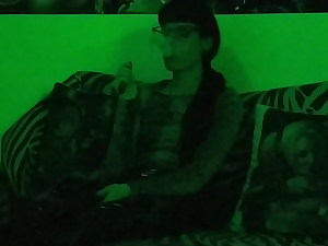 Sexy goth domina smoking in mysterious green light pt1 HD